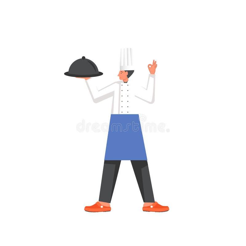 Restauracja kucharz, wektorowa mieszkanie stylu projekta ilustracja royalty ilustracja