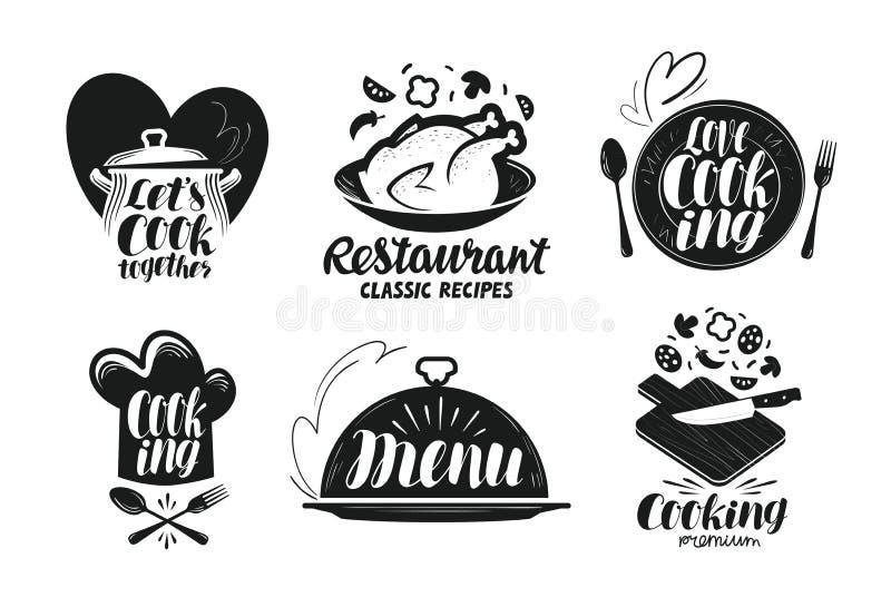 Restauracja, menu, karmowy etykietka set Gotować, kuchnia, kuchni ikona lub logo, Literowanie, kaligrafia wektoru ilustracja royalty ilustracja