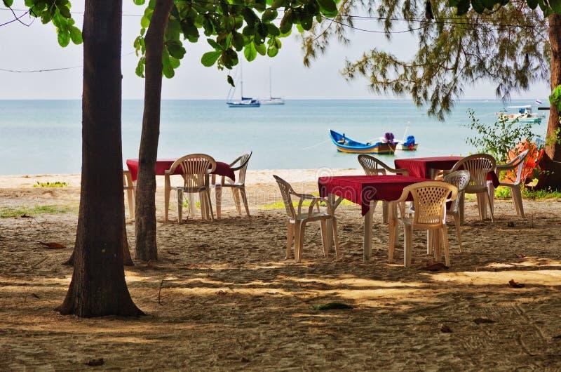 Restauracja na beachs piasku fotografia stock
