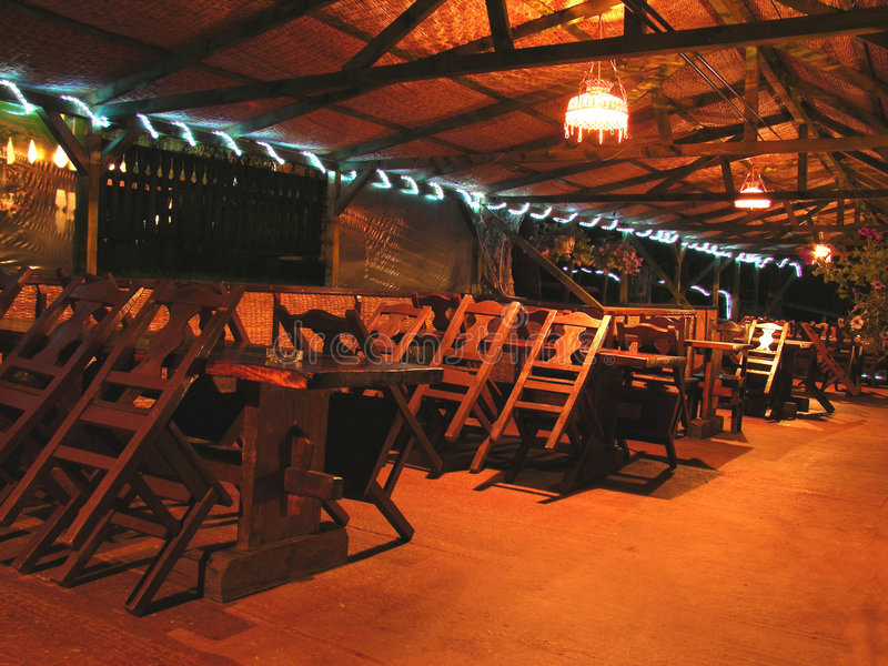 restauracja noc fotografia royalty free