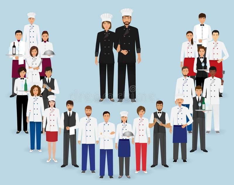 Restauracja personel w mundurze Grupa catering usługa charaktery: szef kuchni, kucharz, kelnery i barman, ilustracji