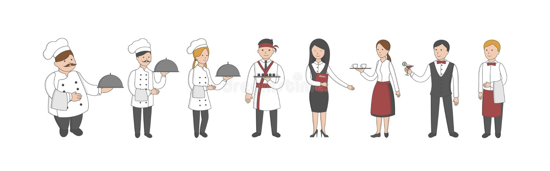 Restauracja personelu set royalty ilustracja