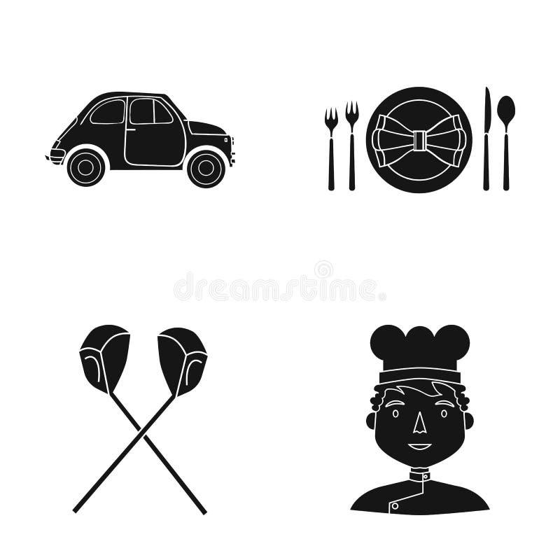 Restauracja, podróż, kawiarnia i inna sieci ikona w czerni, projektujemy mężczyzna, nakrętka, kucharz, ikony w ustalonej kolekci ilustracji