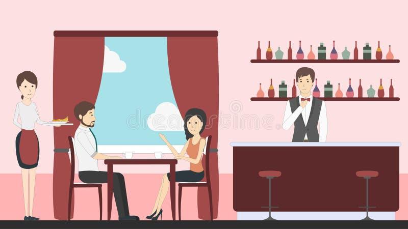 Restauracja w hotelu royalty ilustracja