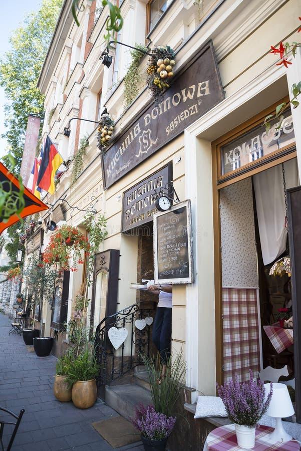 Restauracja w Kazimierz okręgu Kracow poprzedni Żydowski teren miasto w Polska obrazy royalty free