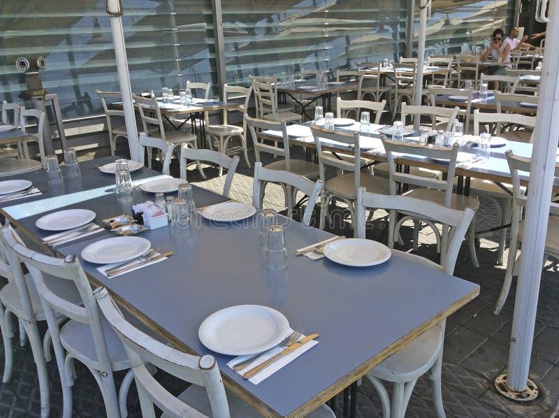 Restauracja w Starym Yaffo porcie, Izrael zdjęcie stock