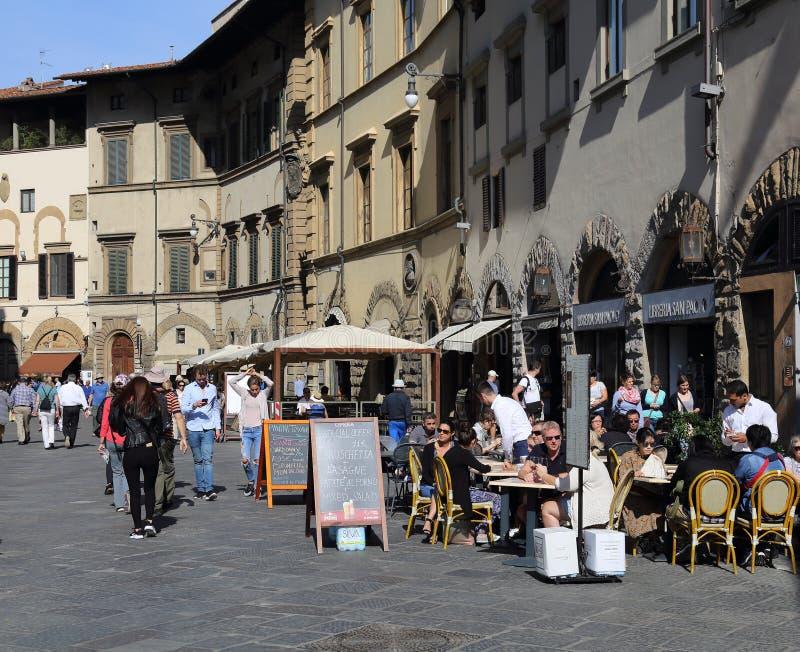 Restauracja z ludźmi w Florencja, Włochy zdjęcia royalty free