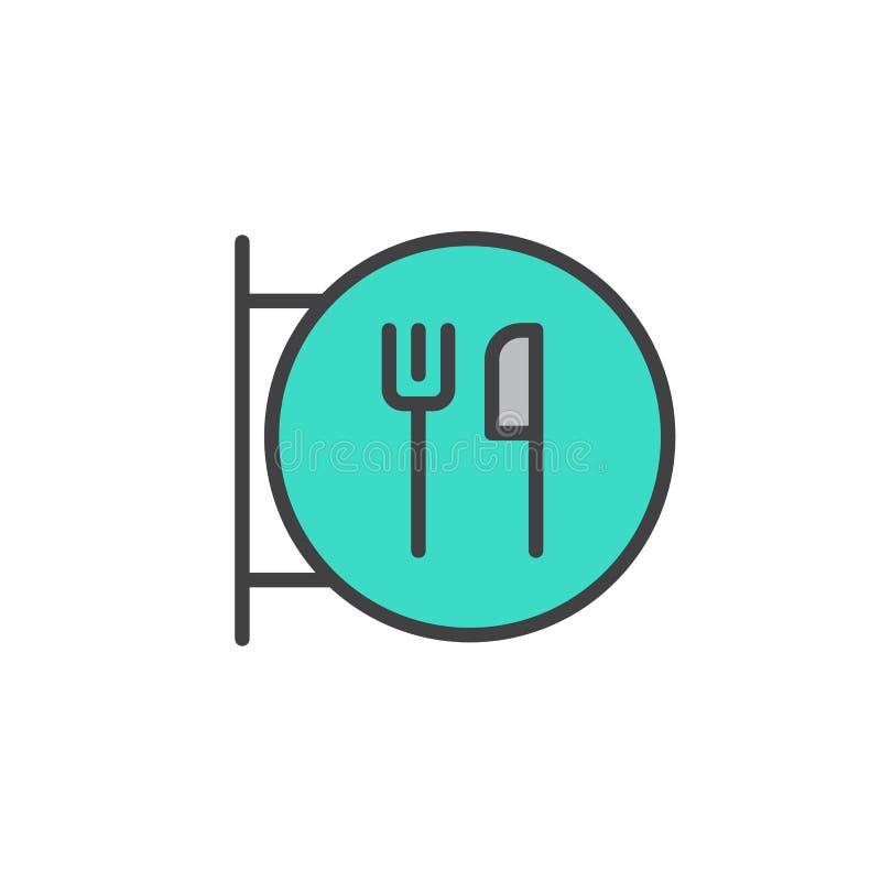 Restauracja znak z rozwidleniem i nóż wypełniający zarysowywamy ikonę royalty ilustracja