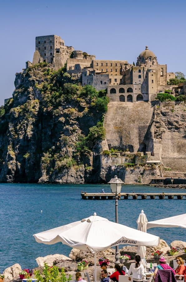 Restauracje na morzu w Ischia fotografia stock
