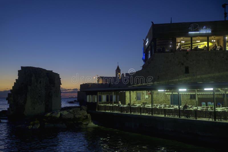 Restauracje w akra porcie zdjęcia royalty free