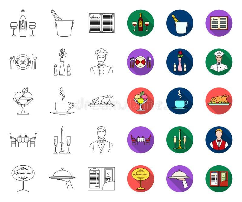 Restauracji i baru kontur, p?askie ikony w ustalonej kolekcji dla projekta Przyjemno?ci, jedzenia i alkoholu wektorowy symbol, za ilustracja wektor