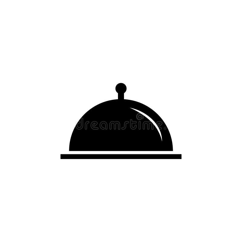 Restauracyjna Stalowa porci taca Cloche ikona ilustracji
