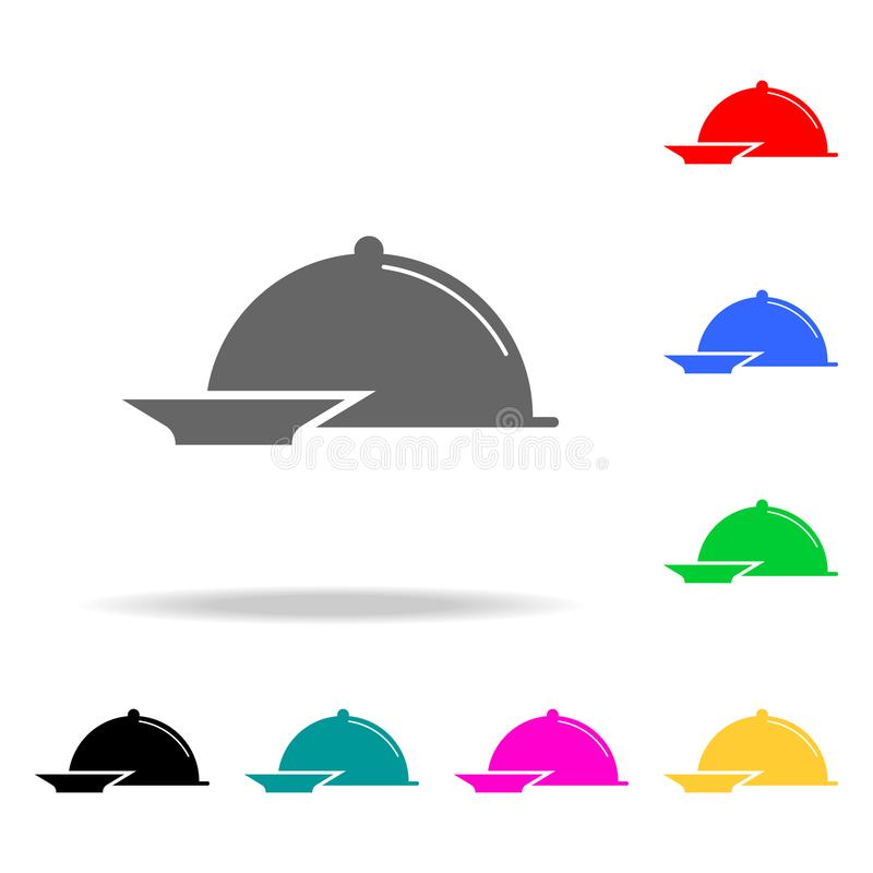 Restauracyjna Stalowa porci taca Cloche ikona Elementy w wielo- barwionych ikonach dla mobilnych pojęcia i sieci apps Ikony dla s royalty ilustracja
