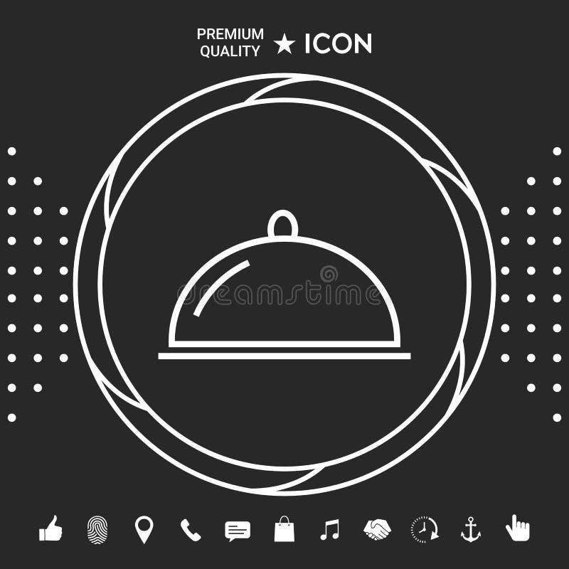 Restauracyjna Stalowa porci taca Cloche kreskowa ikona Graficzni elementy dla twój designt ilustracja wektor