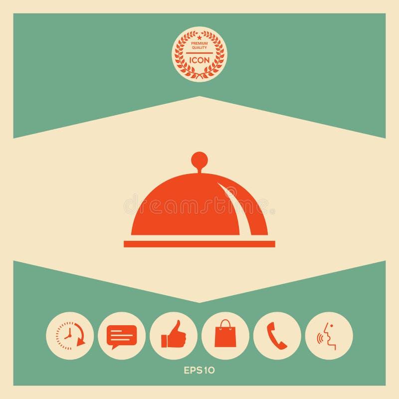 Restauracyjna Stalowa porci taca Cloche symbol ilustracja wektor