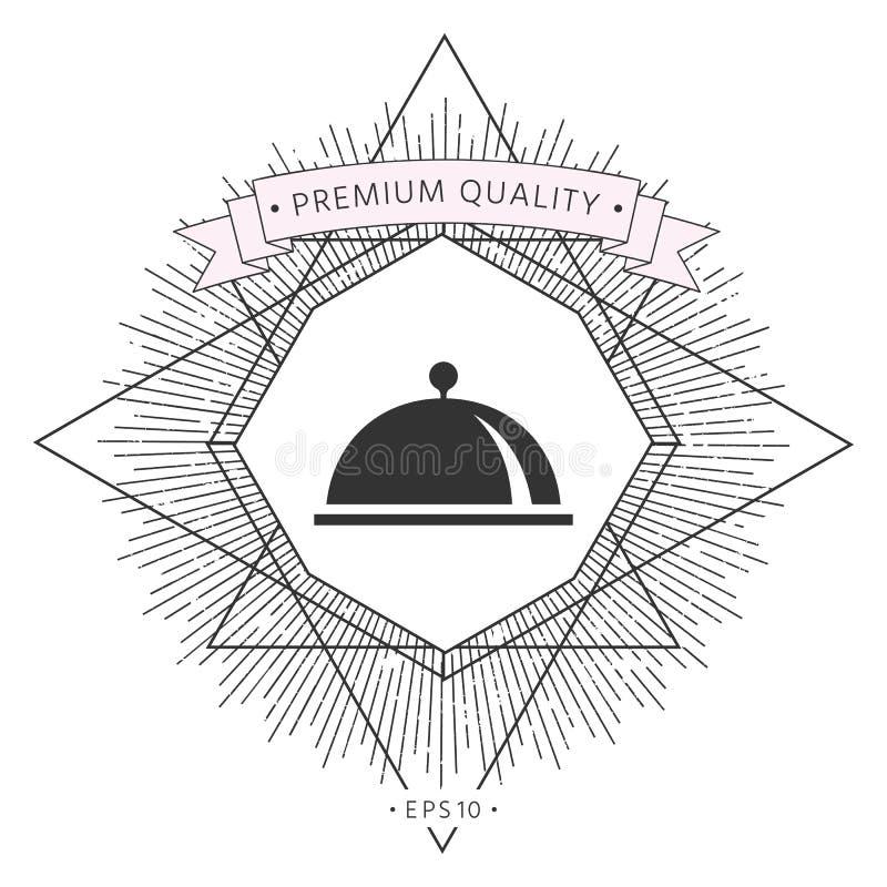 Restauracyjna Stalowa porci taca Cloche symbol royalty ilustracja
