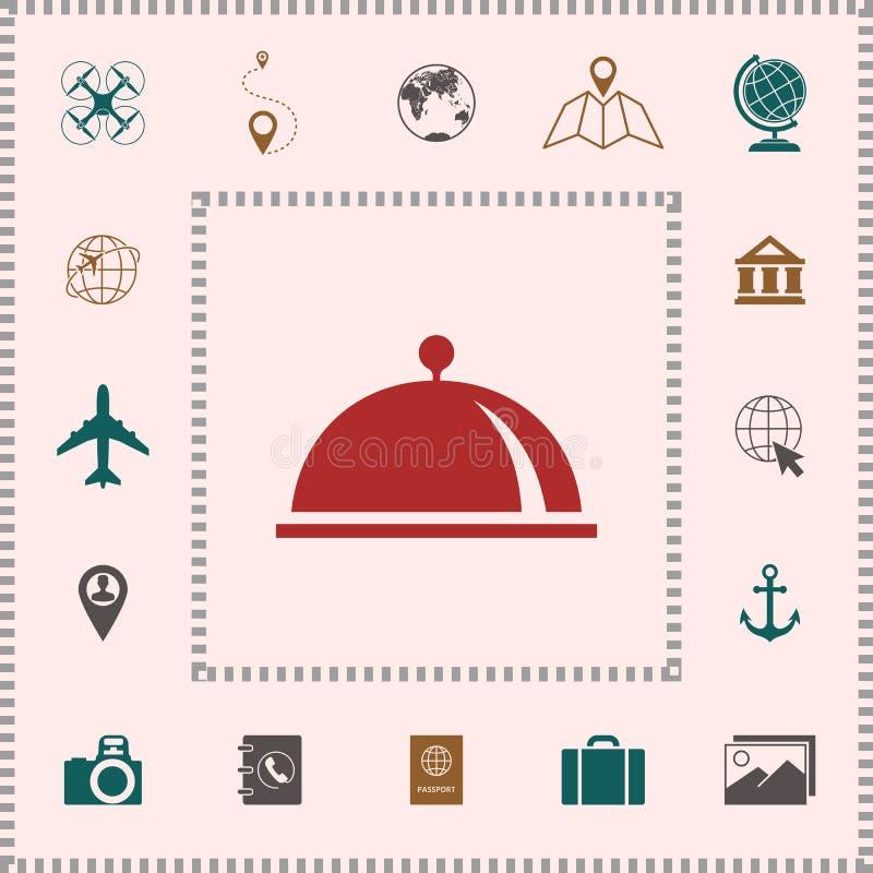 Restauracyjna Stalowa porci taca Cloche symbol elementy projektów galerii ikony widzą odwiedzić twój więcej moich piktogramy pros ilustracja wektor