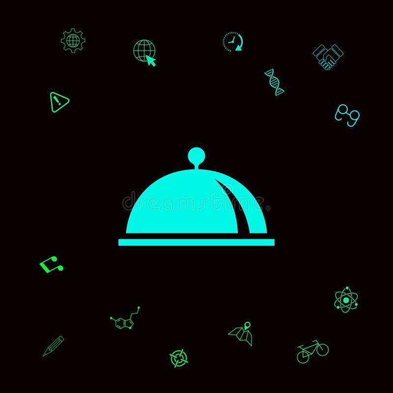 Restauracyjna Stalowa porci taca Cloche symbol Graficzni elementy dla twój designt royalty ilustracja