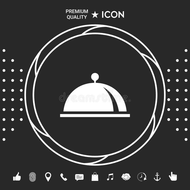 Restauracyjna Stalowa porci taca Cloche symbol Graficzni elementy dla twój designt ilustracji