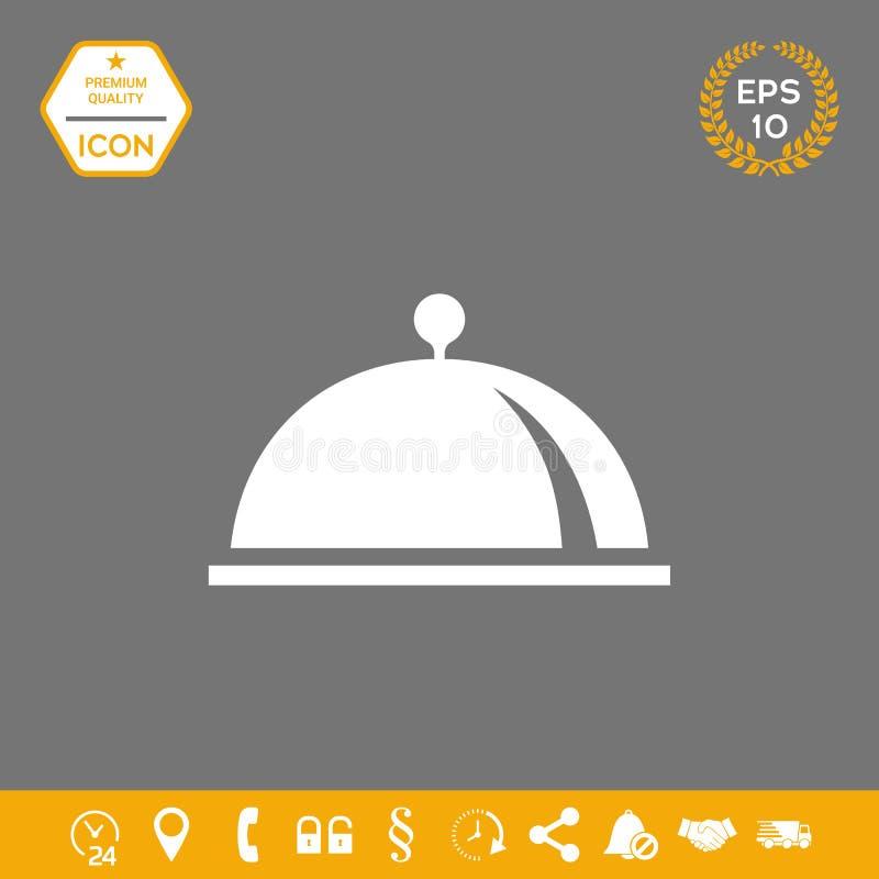 Restauracyjna Stalowa porci taca Cloche symbol Graficzni elementy dla twój projekta ilustracja wektor