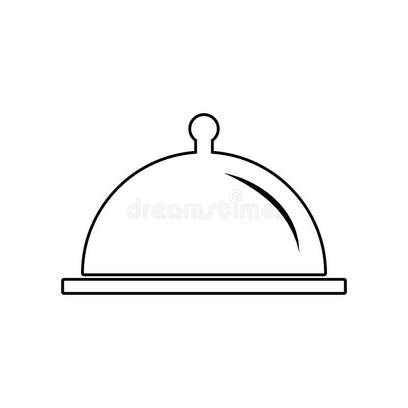 Restauracyjna Stalowa porci tacy ikona Element ?asowanie dla mobilnego poj?cia i sieci apps ikony Kontur, cienieje kreskow? ikon? royalty ilustracja