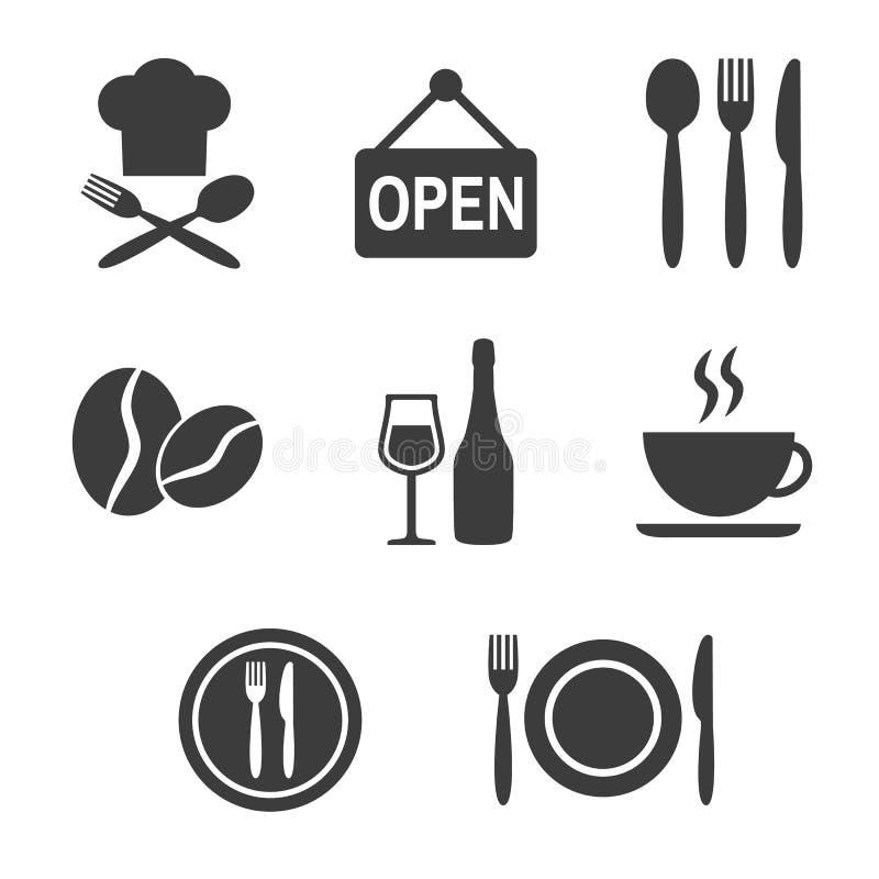 Restauracyjne i cukierniane ikony ustawiać na białym tle ilustracja wektor