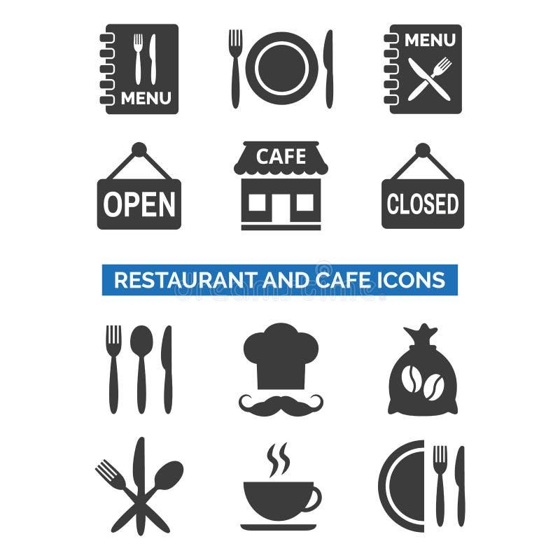 Restauracyjne i cukierniane ikony ustawiać na białym tle royalty ilustracja