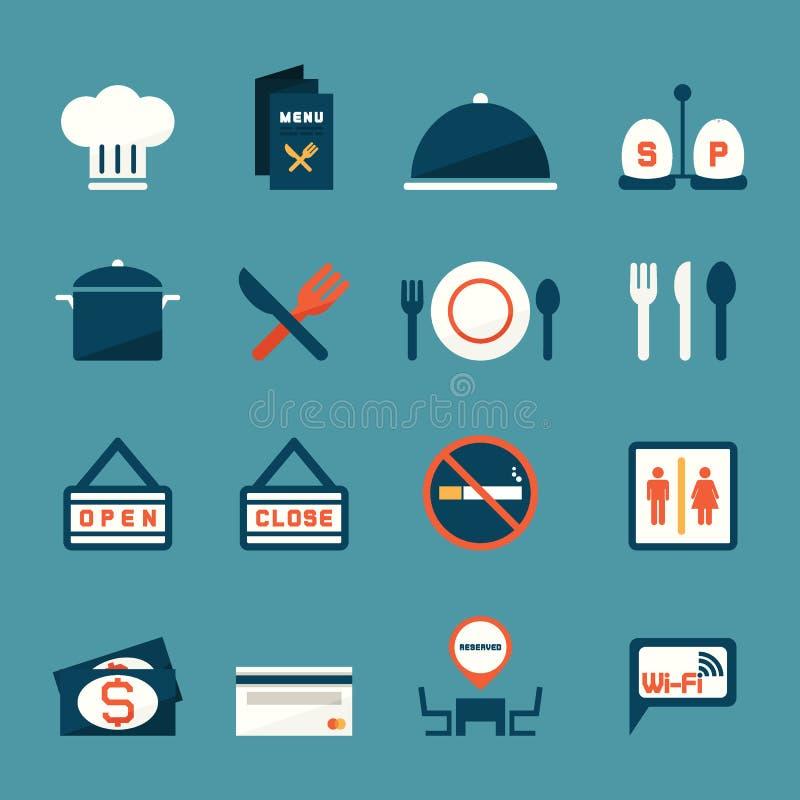Restauracyjne ikony ilustracji