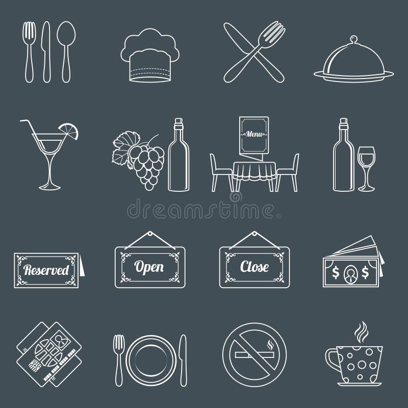 Restauracyjne ikony ustawiający kontur royalty ilustracja
