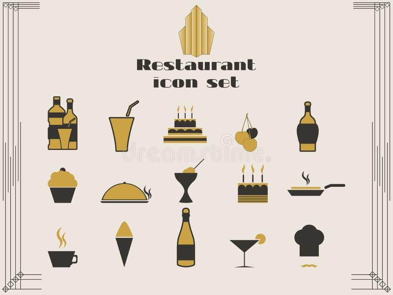 Restauracyjne ikony w art deco stylu Gotować i kuchenne ikony royalty ilustracja