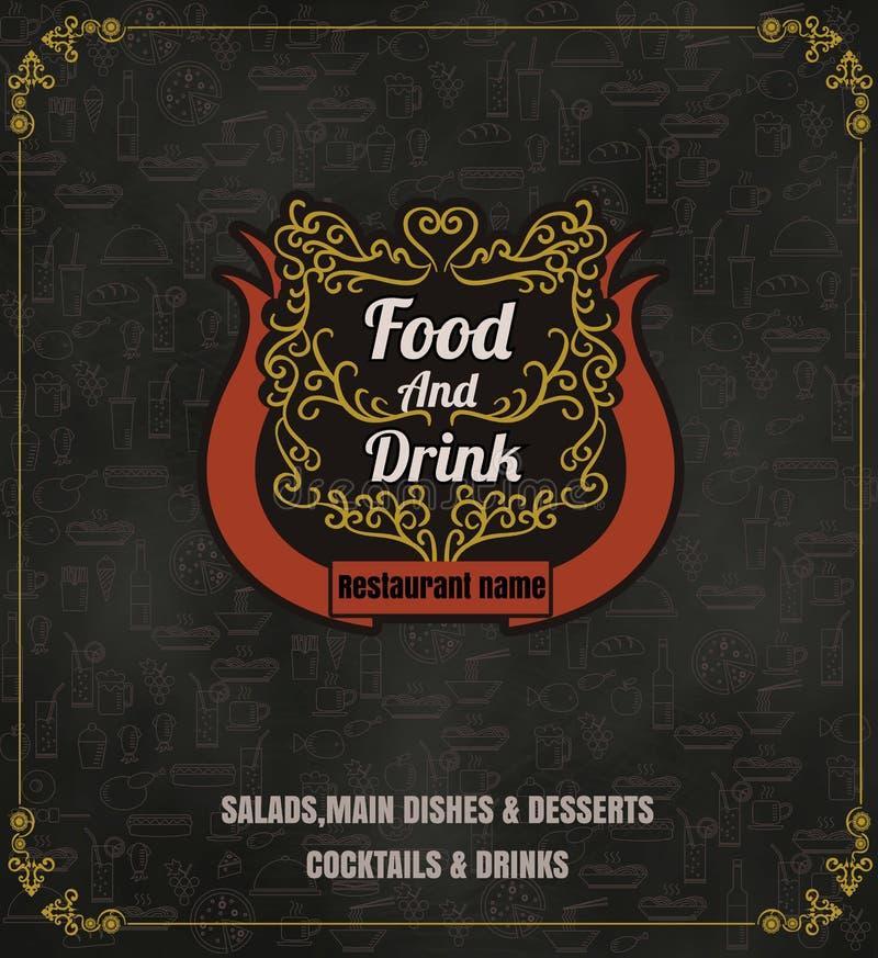 Restauracyjnego Karmowego menu rocznika Typograficzny projekt z kreskową ikoną royalty ilustracja
