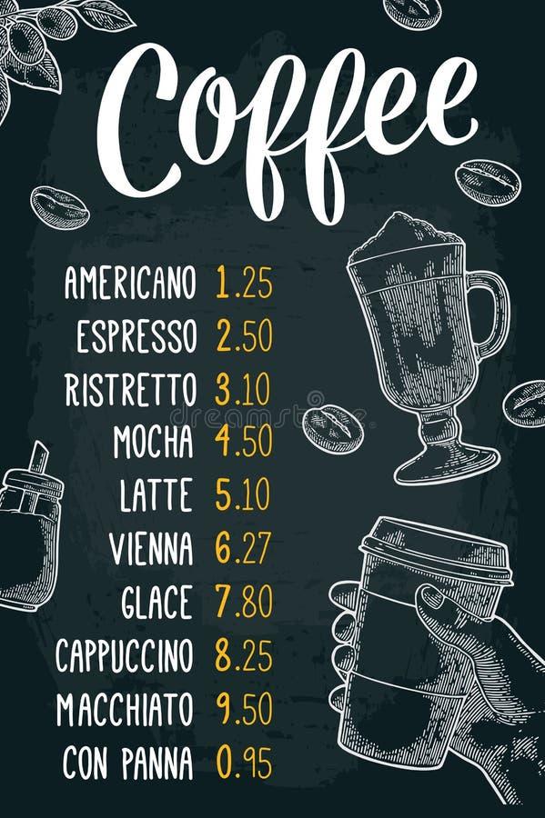 Restauracyjnego lub cukiernianego menu kawowy drinck z ceną ilustracji