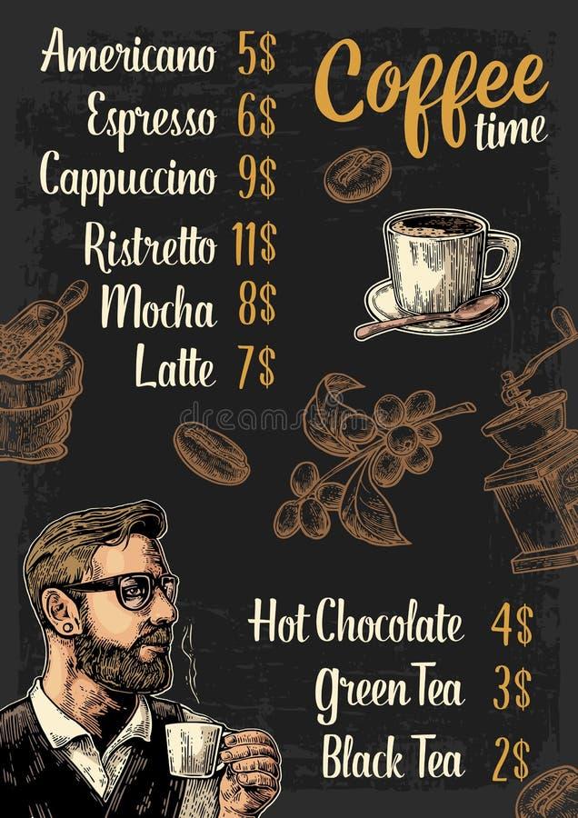 Restauracyjnego lub cukiernianego menu kawowy drinck z ceną ilustracja wektor