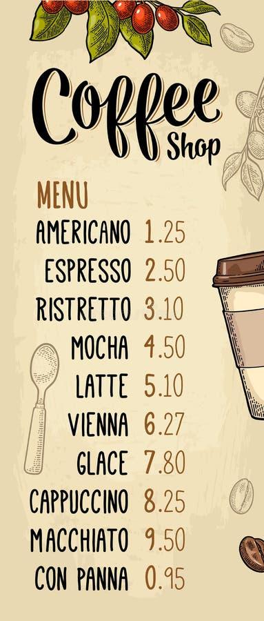 Restauracyjnego lub cukiernianego menu kawowy drinck z cen? ilustracja wektor