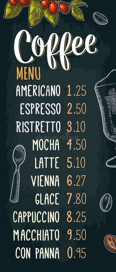 Restauracyjnego lub cukiernianego menu kawowy napój z ceną ilustracja wektor