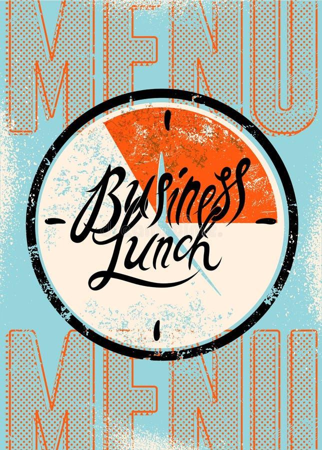 Restauracyjnego menu typograficzny projekt Rocznika biznesowego lunchu plakat również zwrócić corel ilustracji wektora royalty ilustracja