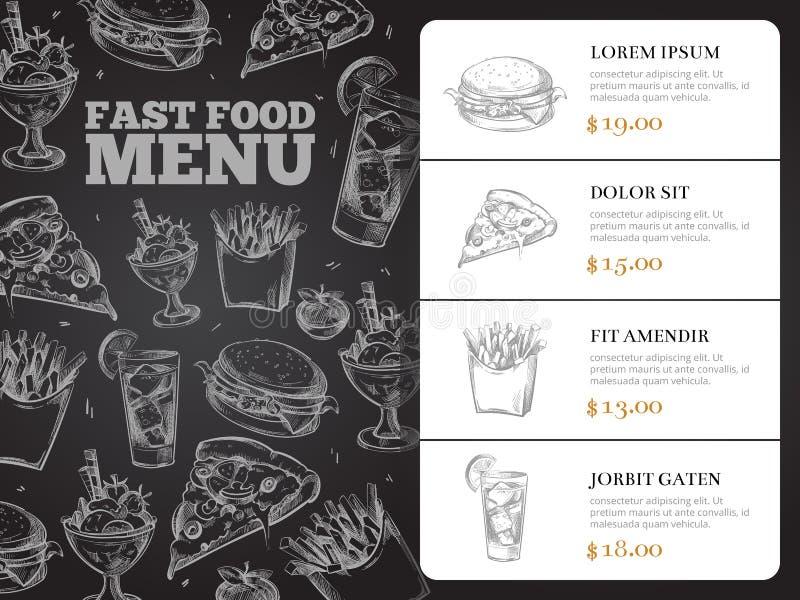 Restauracyjnej broszurki menu wektorowy projekt z pociągany ręcznie fastem food ilustracji