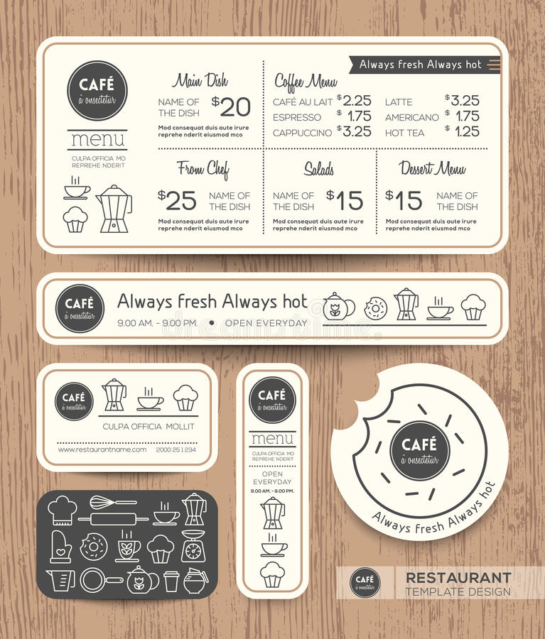 Restauracyjnej kawiarni menu Graficznego projekta Ustalony szablon royalty ilustracja