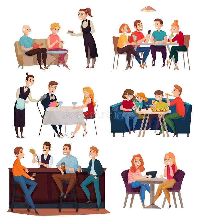 Restauracyjni I Karczemni goście Ustawiający ilustracji