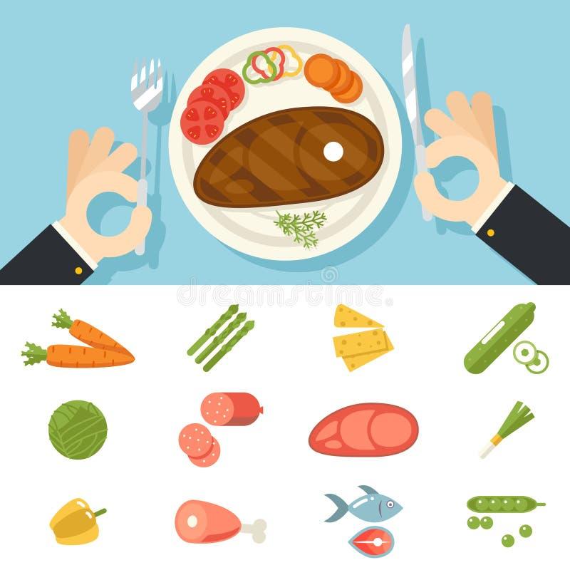 Restauracyjni Karmowi warzywa Ustawiającego ikony mięsa ryba ręk Cutlery talerza noża i rozwidlenia oncept symbol na Eleganckim t royalty ilustracja