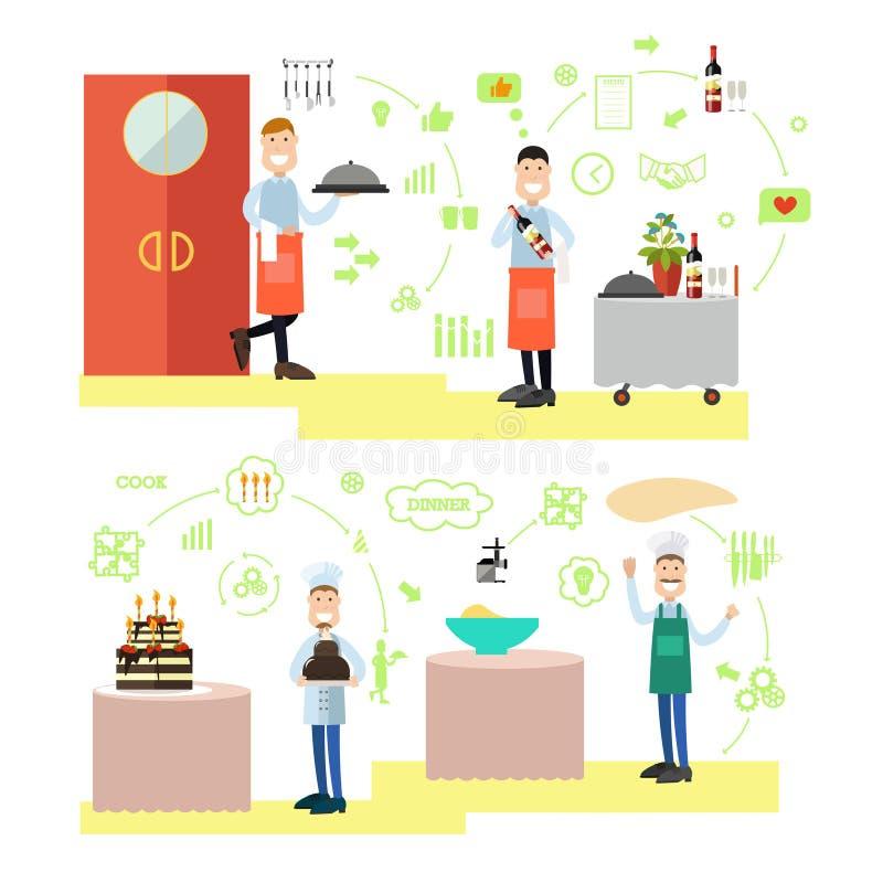 Restauracyjni ludzie wektorowej ilustraci w mieszkanie stylu ilustracja wektor