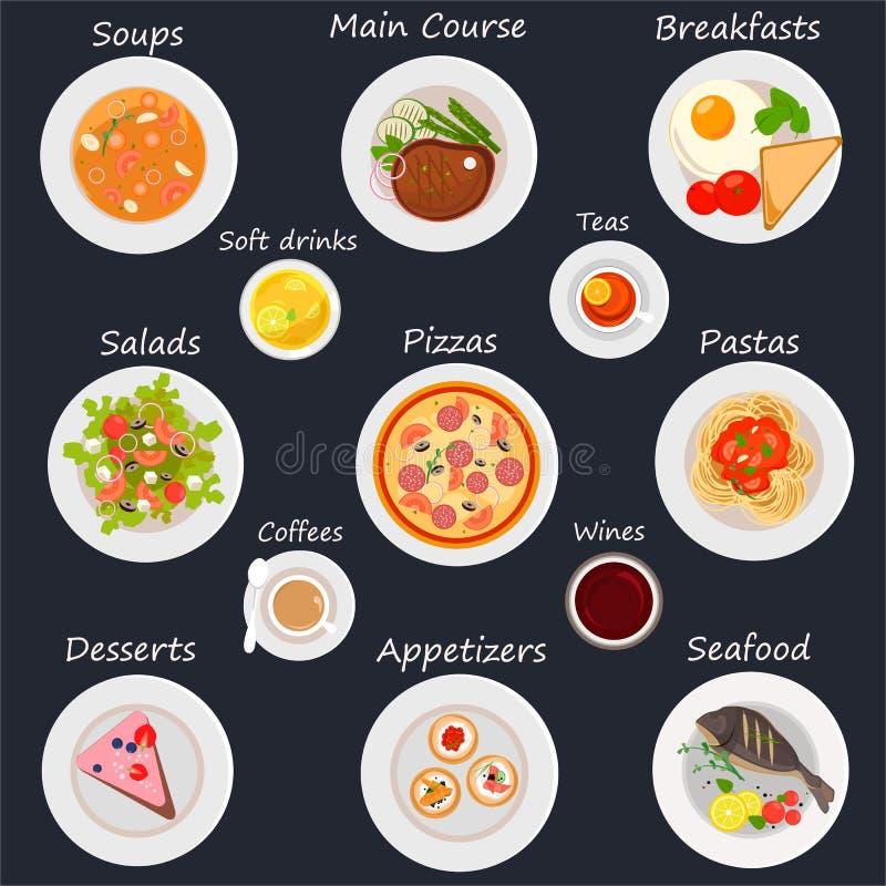 Restauracyjni menu projekta elementy karmowi i napój ikony Nowożytny mieszkanie styl royalty ilustracja