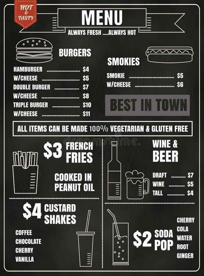 Restauracyjni menu projekta elementy z kredowym rysującym jedzeniem i napojem royalty ilustracja