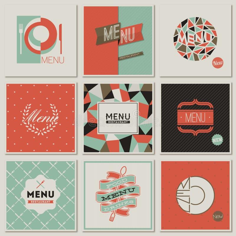 Restauracyjni menu projekty. Projektujący wektory royalty ilustracja