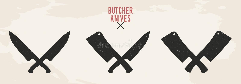 Restauracyjni noże ustawiający Mięśni noże Szefa kuchni Mięsny cleaver i Rocznika projekt również zwrócić corel ilustracji wektor royalty ilustracja