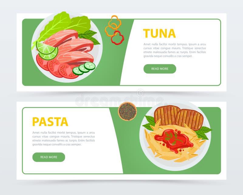 Restauracyjni sztandary z różnymi składnikami i naczynie odgórnym widokiem royalty ilustracja