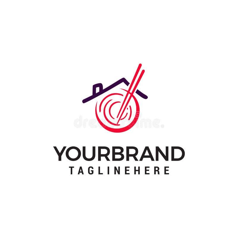 Restauracyjny azjatykci kluski logo projekta pojęcia szablon ilustracji