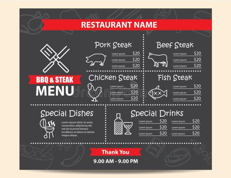 Restauracyjny BBQ stku menu projekt ilustracji