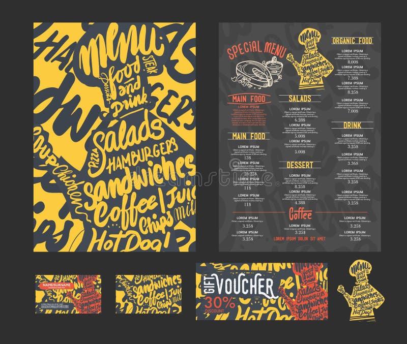 Restauracyjny cukierniany menu, royalty ilustracja