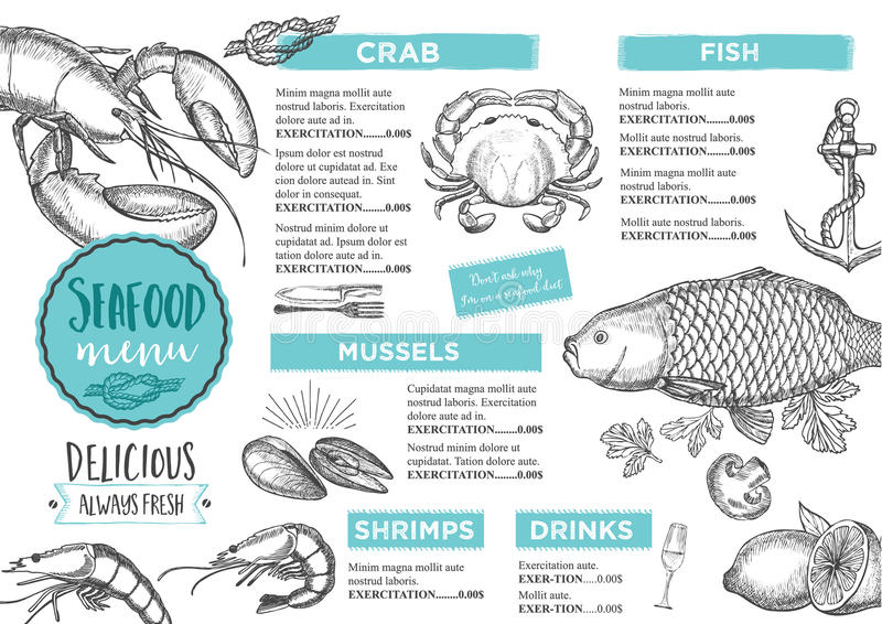Restauracyjny cukierniany menu, szablonu projekt royalty ilustracja